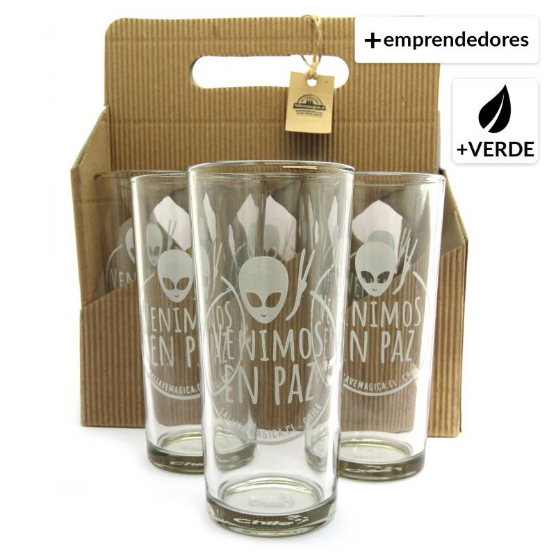 LALLAVEMAGICA.CL - Vasos Alienígenas - Upcycling - Set de 6 vasos