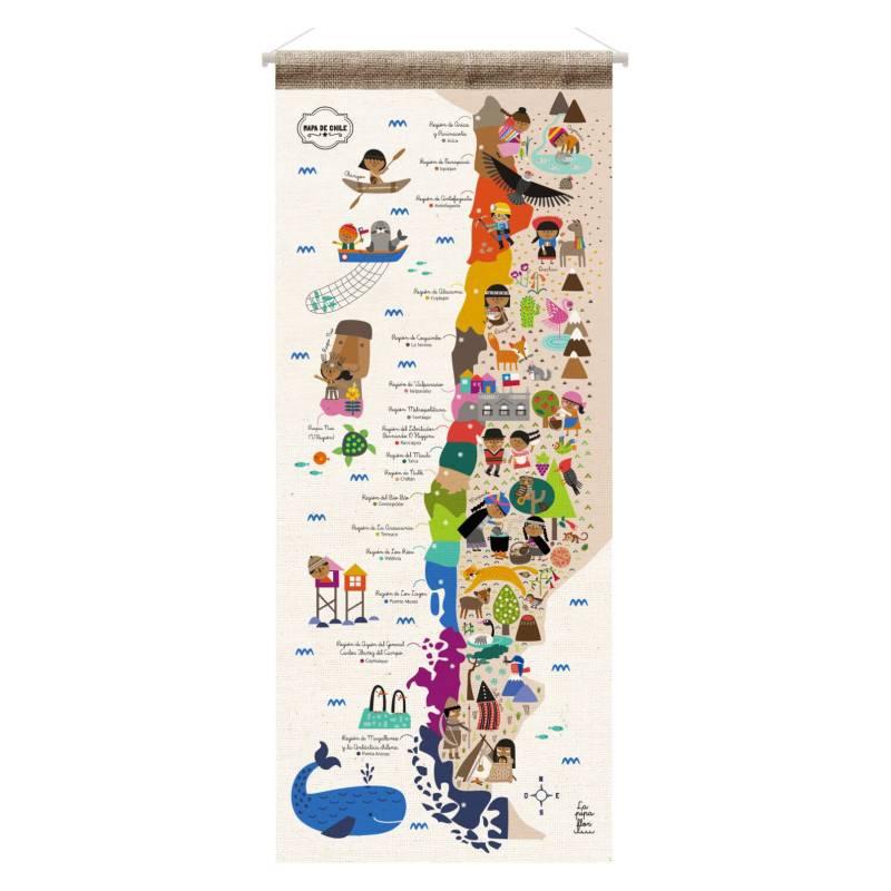 LA PIPA FLOR - Mapa de Chile de Tela