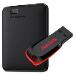 WD - Disco Duro Externo 2TB + Pendrive 32Gb