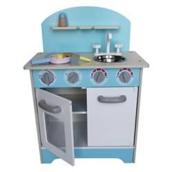 Game Power - Cocina de Madera  Celeste con Accesorios