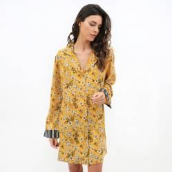 Lounge - Camisa de Domir Mujer Flores Amarillo