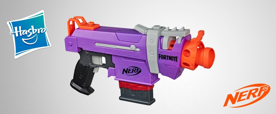 Nerf Fortnite - Lanzador motorizado SMG-E - Clip y 6 dardos Nerf Elite oficiales - Niños adolescentes y adultos