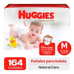 Huggies - Pañales Huggies Natural Care Pack 164 Und. Talla M