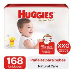 Huggies - Pañales Huggies Natural Care Pack 168 U. Talla Xxg