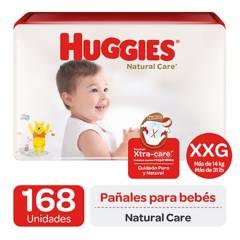 HUGGIES - Pañales Huggies Natural Care Pack 168 U. Talla Xxg