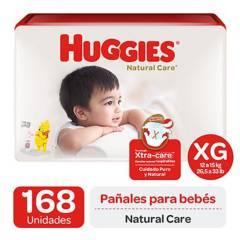 HUGGIES - Pañales Huggies Natural Care Pack 168 Un. Talla Xg