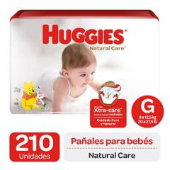 Huggies - Pañales Huggies Natural Care Pack 210 Un. Talla G