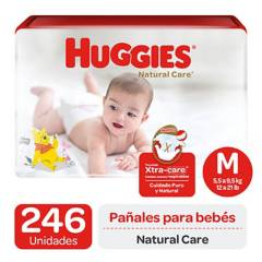 Huggies - Pañales Huggies Natural Care Pack 246 Un. Talla M