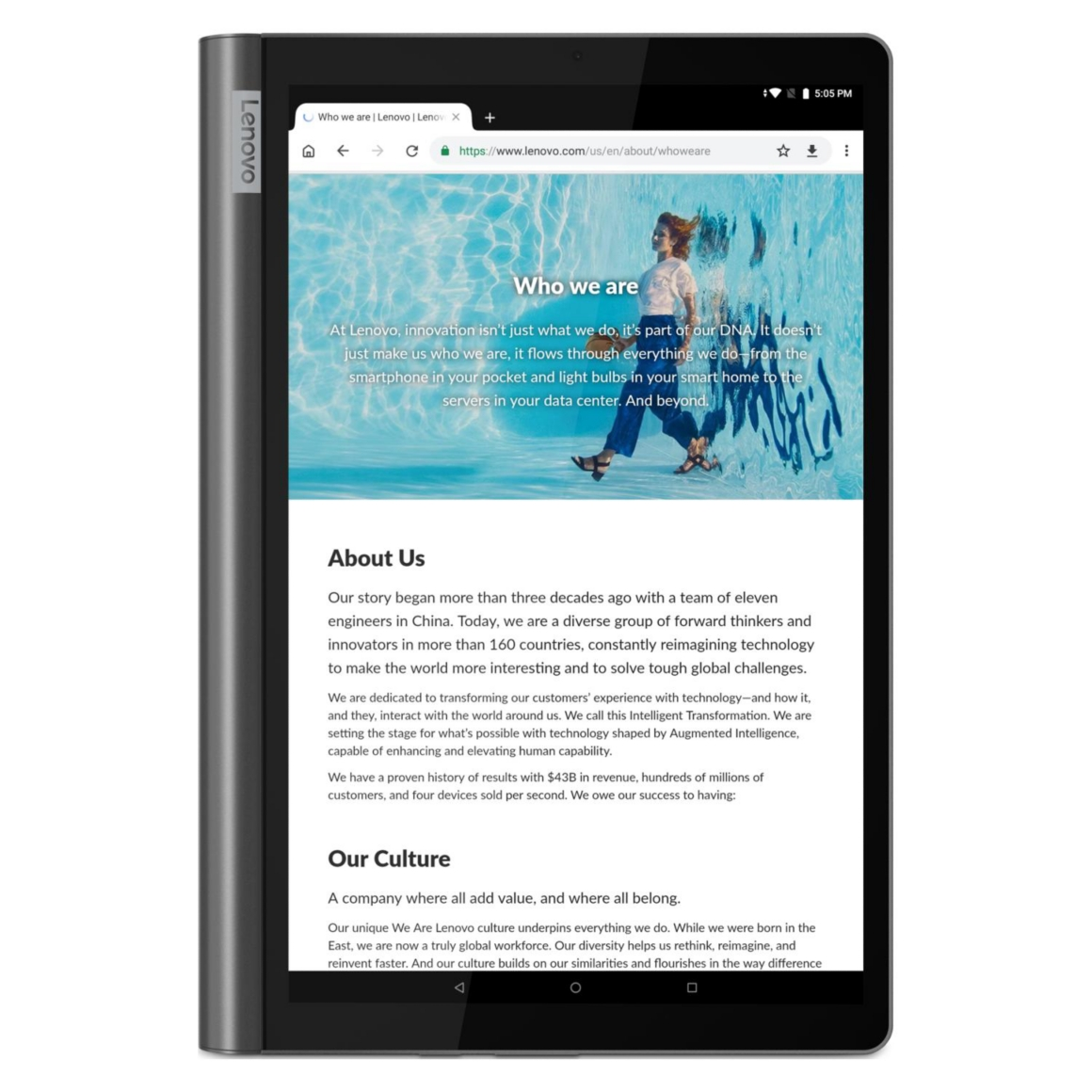 Tablet Lenovo Yoga Smart Tab en distintos usos