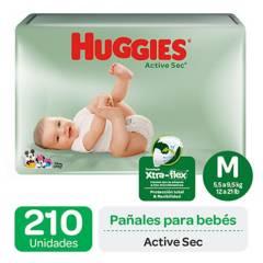 HUGGIES - Pañales Huggies Active Sec Pack 210 Un . Talla M