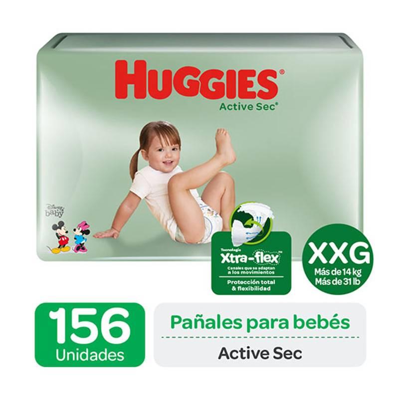 HUGGIES - Pañales Huggies Active Sec Pack 156 Un. Talla Xxg