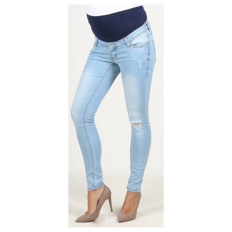 Ohma Barcelona Jeans Maternal Claro Con Roturas Falabella Com