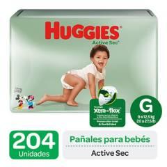 HUGGIES - Pañales Huggies Active Sec Pack 204 Un. Talla G