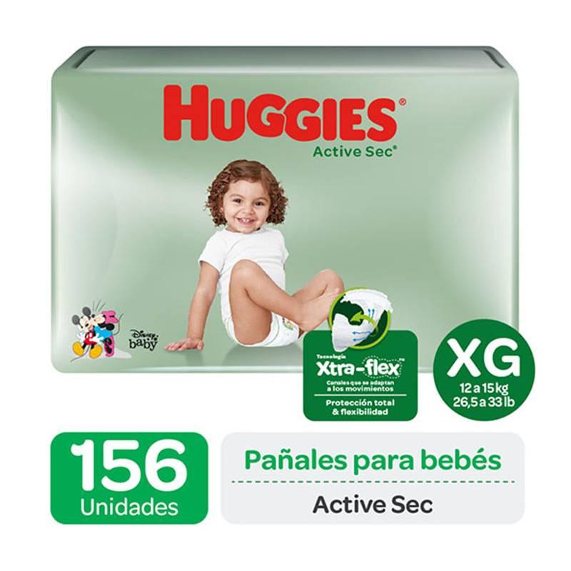 HUGGIES - Pañales Huggies Active Sec Pack 156 Un. Talla Xg