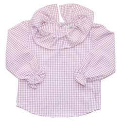 MARIA POMPON - Blusa Cuello Cuadrille Rosa