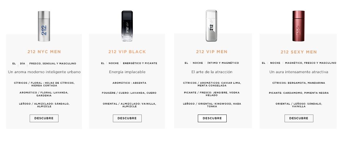 Comparativo de perfumes 212 Hombre