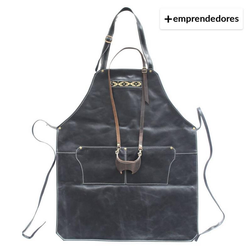 KARIBU - Pack Pechera De Cuero Negro Más Porta Copa