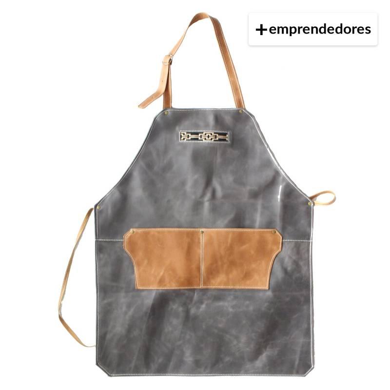 Karibu - Pechera De Cuero Gris Con Cafe