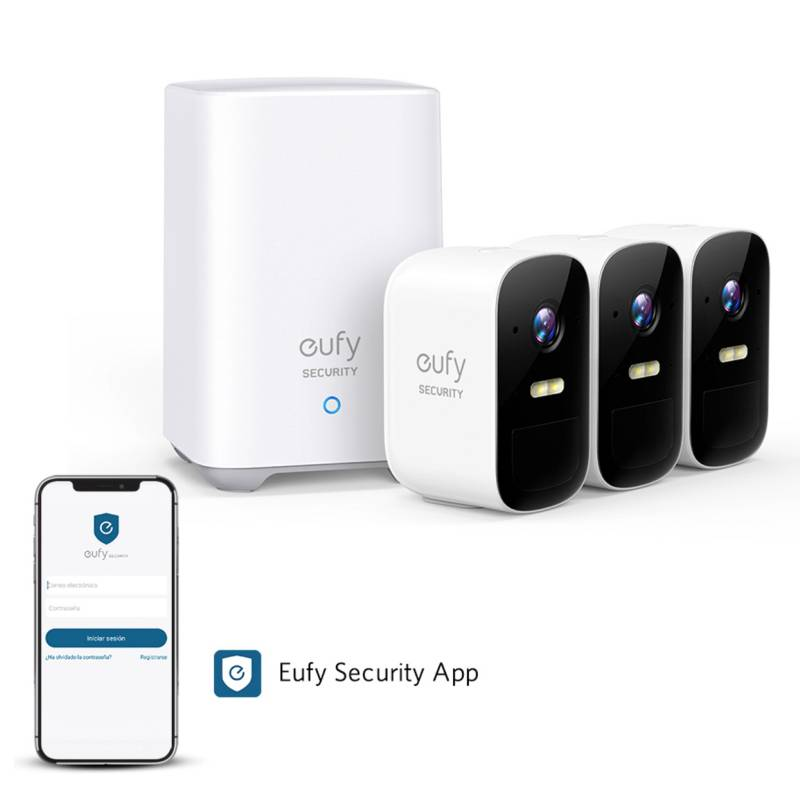EUFY - Kit 3 cámaras de seguridad Eufy Cam 2c + Hub