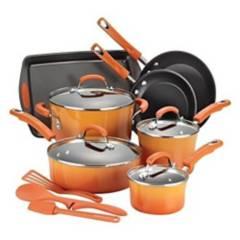 Rachael Ray - Batería de cocina 14 piezas Naranjo