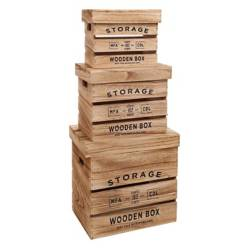 Sohogar - Set 3 Cajas Organizadoras Multiuso Madera