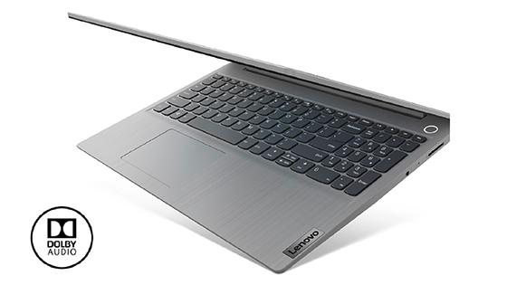Lenovo Ideapad 3 gris pantalla semi abierta vista diagonal.