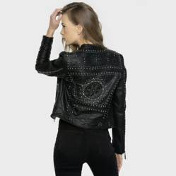 ONA SAEZ - Chaqueta New Night Cuello Mao Tachas