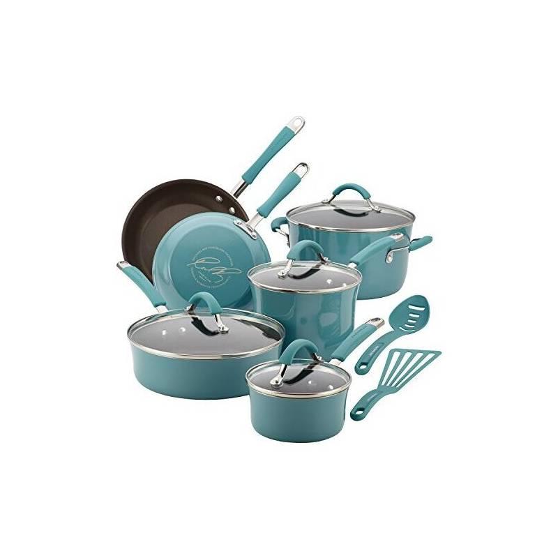 Rachael Ray - Bateria de Cocina 12 Piezas Turquesa