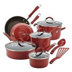Rachael Ray - Bateria de Cocina 12 Piezas Rojo