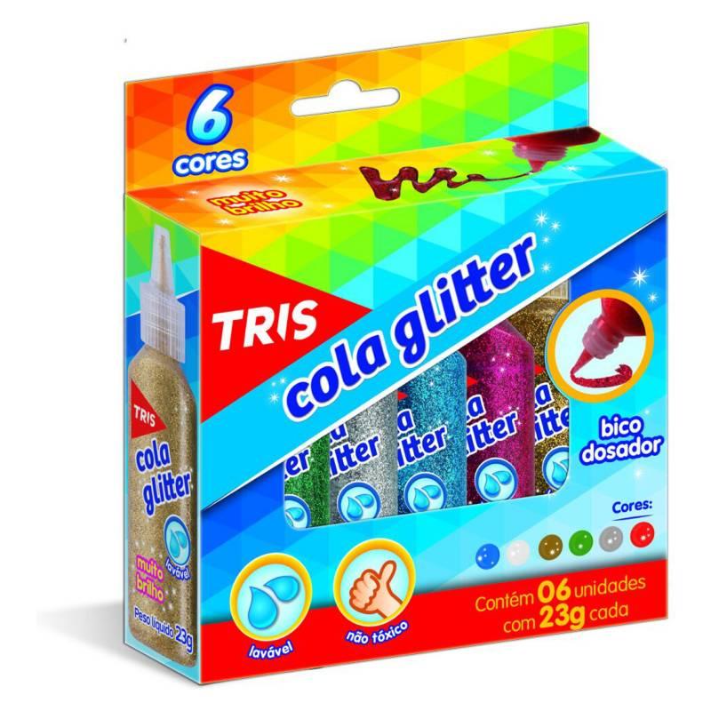 TRIS - Pegamento  Glitter 6 colores 23 gr. cada uno