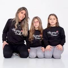 COYOTE KIDS - Colección Madre/Hija Poleron Happy Time Negro