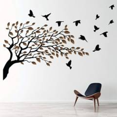 AVERY - Birds Tree Brown Autumn Leaves Ws-46648