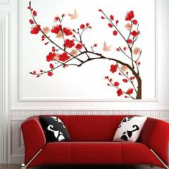 AVERY - Red Pink Blossom Tree Ws-44983