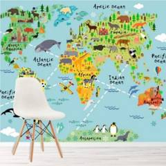 AVERY - Animal World Map Paper Ws-42154