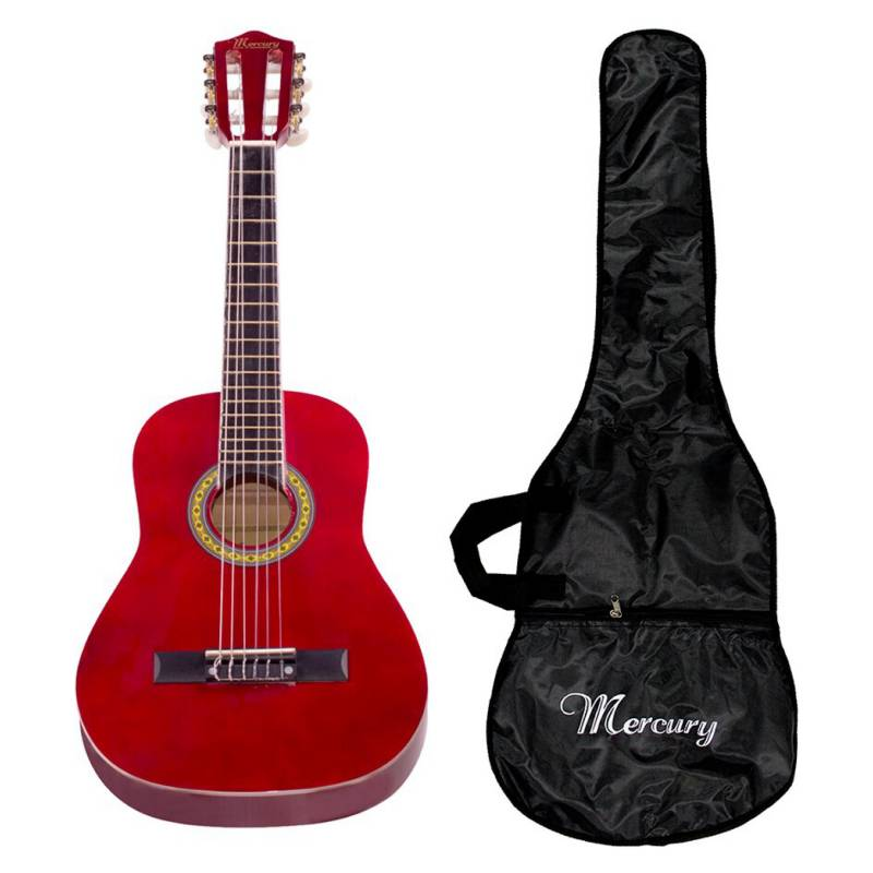 MERCURY - Guitarra Clásica 30 Cuerdas De Nylon Color Rojo
