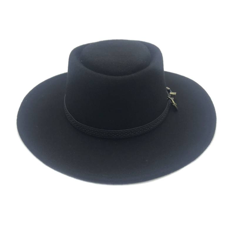 CANADIAN - Sombrero Gambler Negro Ala Ancha 100% Fieltro