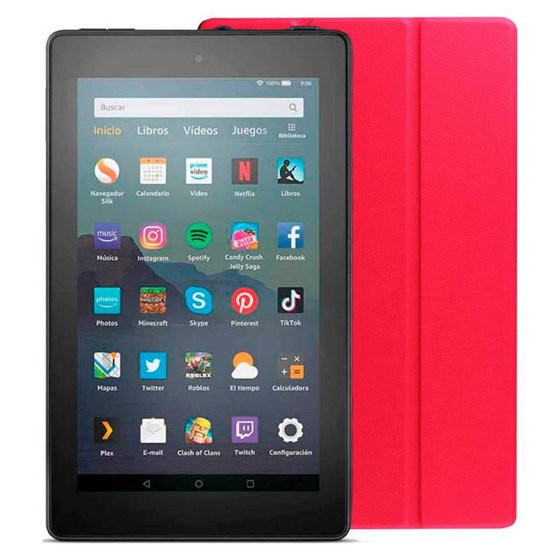 Amazon - Kindle Fire 7 2019 16 GB  Funda Roja