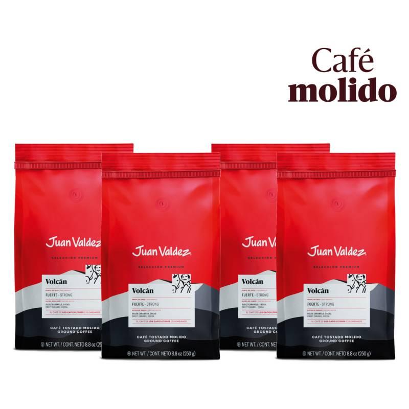 Juan Valdez - Pack 4x Café Grano Molido Fuerte Volcán 250 g
