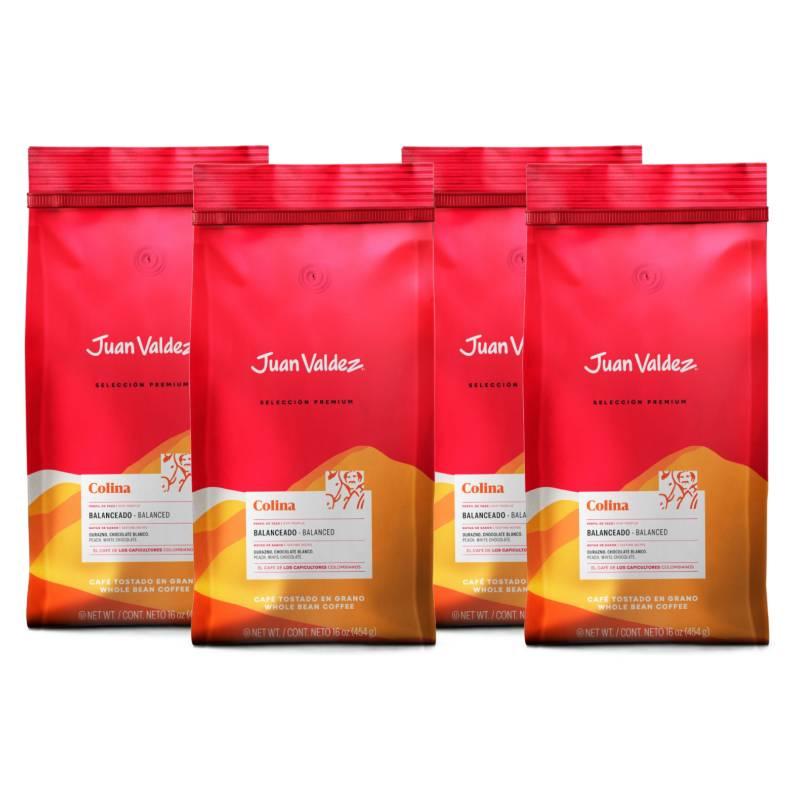 Juan Valdez - Pack 4x Café Grano Balanceado Colina 500 g
