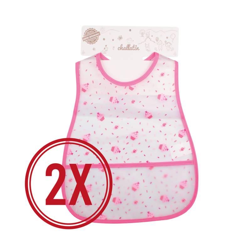 CHALLATIN - Pack Babero Plastico Grande Rosado