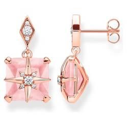THOMAS SABO - Pendientes Piedra Rosa Con Estrella