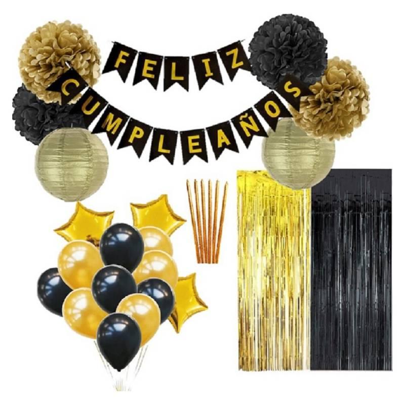 COTILLON ACTIVARTE - Pack Decoración Cumpleaños Negro Dorado