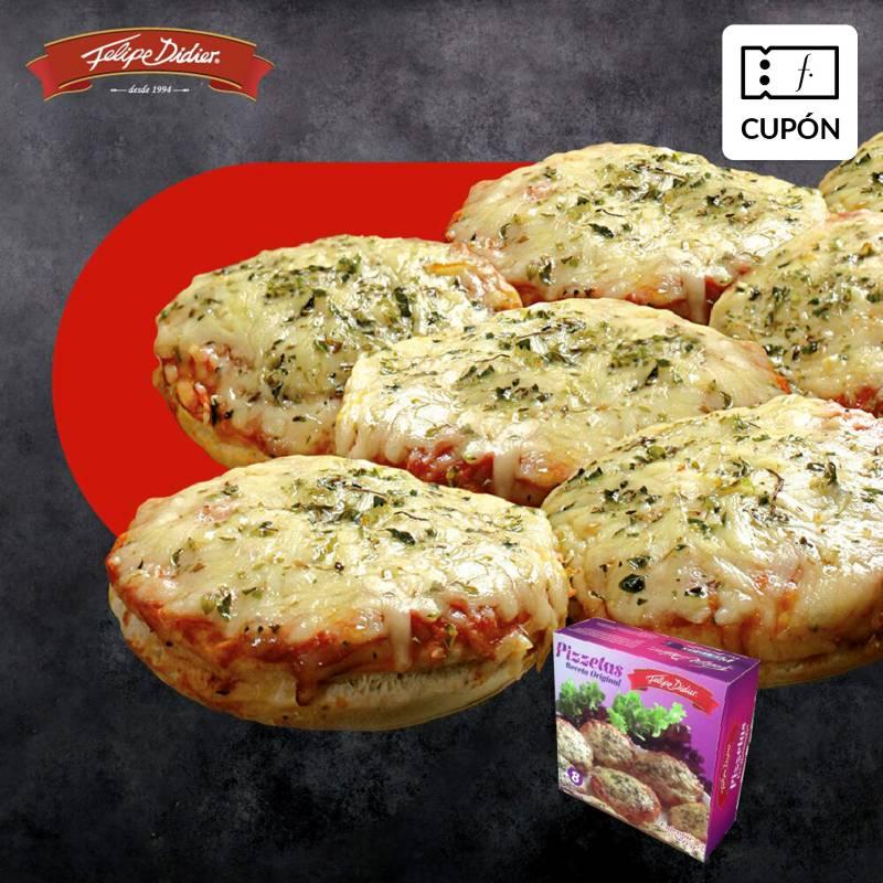 FELIPE DIDIER - Cupón para 5 Cajas pizzetas + 1 de REGALO, despacho incluido RM. Incluye 8 unidades napolitanas en cada caja