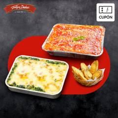 FELIPE DIDIER - Cupón para 2 Lasañas familiar surtidas + REGALO 2 pan de ajo, despacho incluido RM