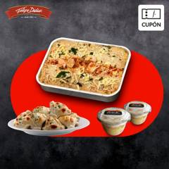 FELIPE DIDIER - Cupón para 1 Pastel de jaiba y salmon + 12 emp camaron queso + REGALO 2 postres tres leches, despacho incluido RM