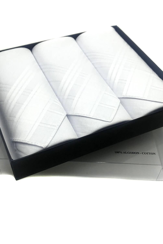 UNIVERSITY CLUB - Caja 3 Pañuelos De Bolsillo 100% Algodón Blanco