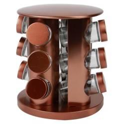 HOMEWELL - Especiero Vidrio Base Metal 23X20X19.5Cm (12U)