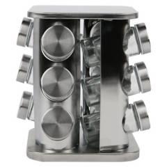HOMEWELL - Especiero Vidrio Base Metal 23X18X18Cm (12U)