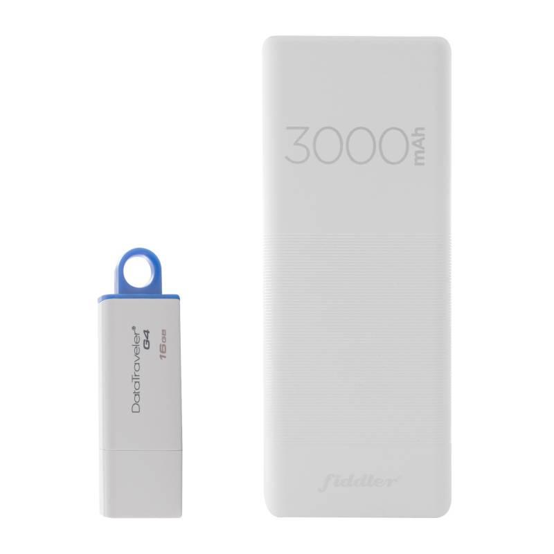 Kingston - Pendrive 16gb + Bateria Externa Powerbank 3000mah