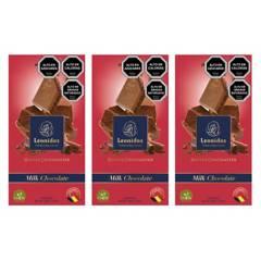 LEONIDAS - Pack 3 Barras 100G Milk 30% Chocolate Belga